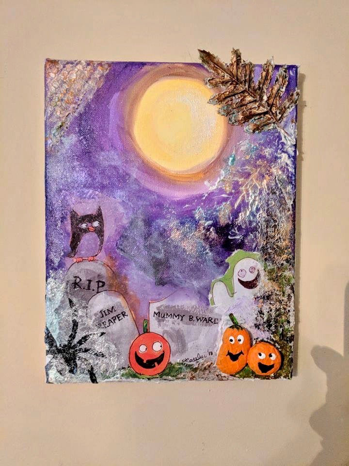 Halloween Mixed Media Acrylic Painting