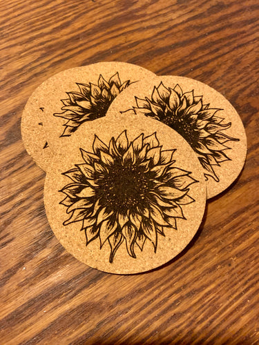Cork Sunflower Coasters