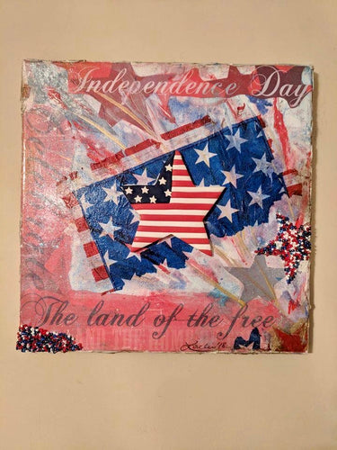 Independence Day Mixed Media Acrylic Painting