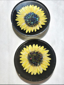 Hand Painted Sunflowers Resin Coasters
