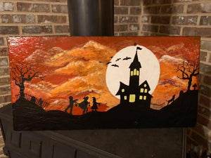 Orange Halloween Painted Slate