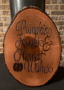 Pumpkin Kisses And Harvest Wishes Sign