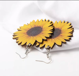 Wood Sunflower Earrings
