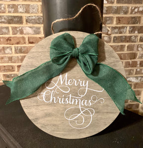 Merry Christmas Round Wooden Sign