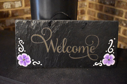 Welcome Slate With Purple Flowers