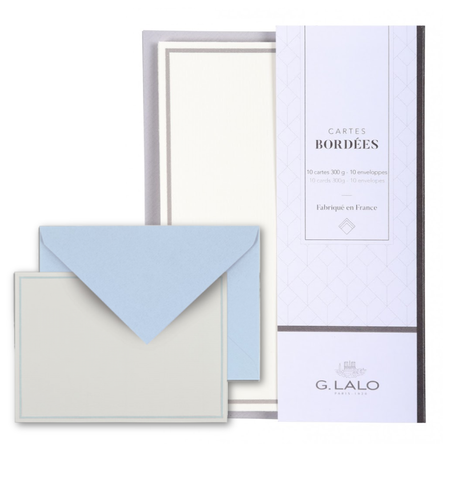 G. Lalo Blue Bordered Correspondence Card Set