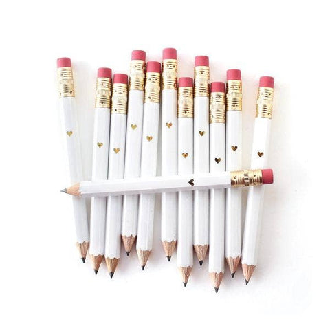 Mini Gold Heart - White Mini Pencils