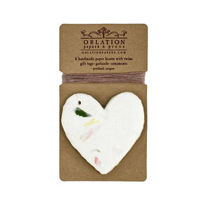 Floral Petite Handmade Paper Heart Tag