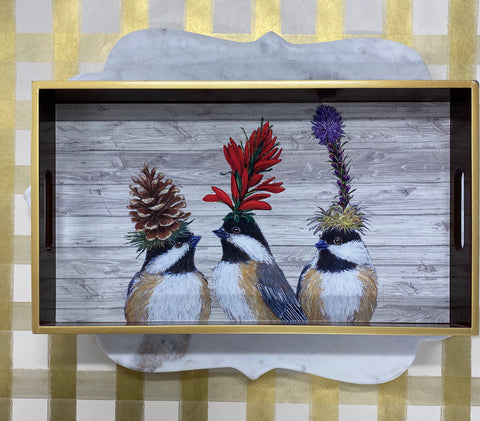 The Chickadee Sisters Wooden Vanity Tray