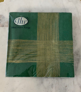 Green/Gold Linum Luncheon Napkins