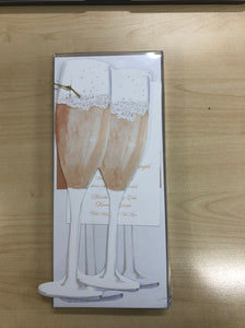 Champagne Flutes Die Cut Invitation
