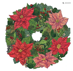 Poinsettia Wreath Die-Cut Placemat