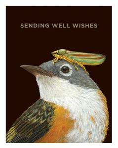 WELL WISHES WARBLER CARD GOLD FOIL