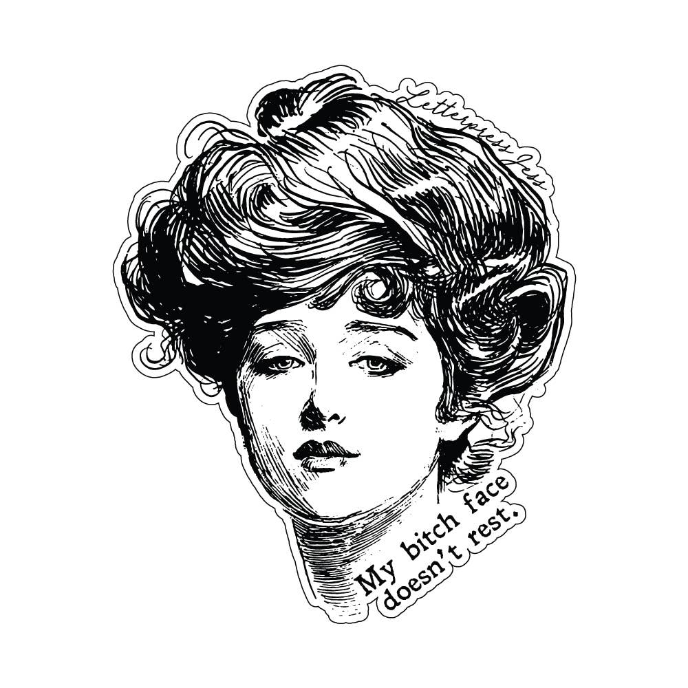 Gibson Girl Bitch Face Doesn't Rest Sticker