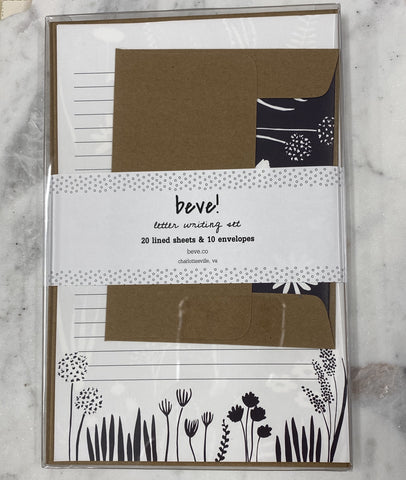 Navy Floral Letter Writing Set