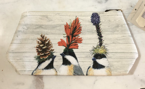 The Chickadee Sisters Canvas Cosmetic Bag