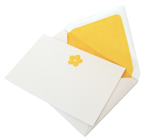 Yellow Flower Engraved Note Cards