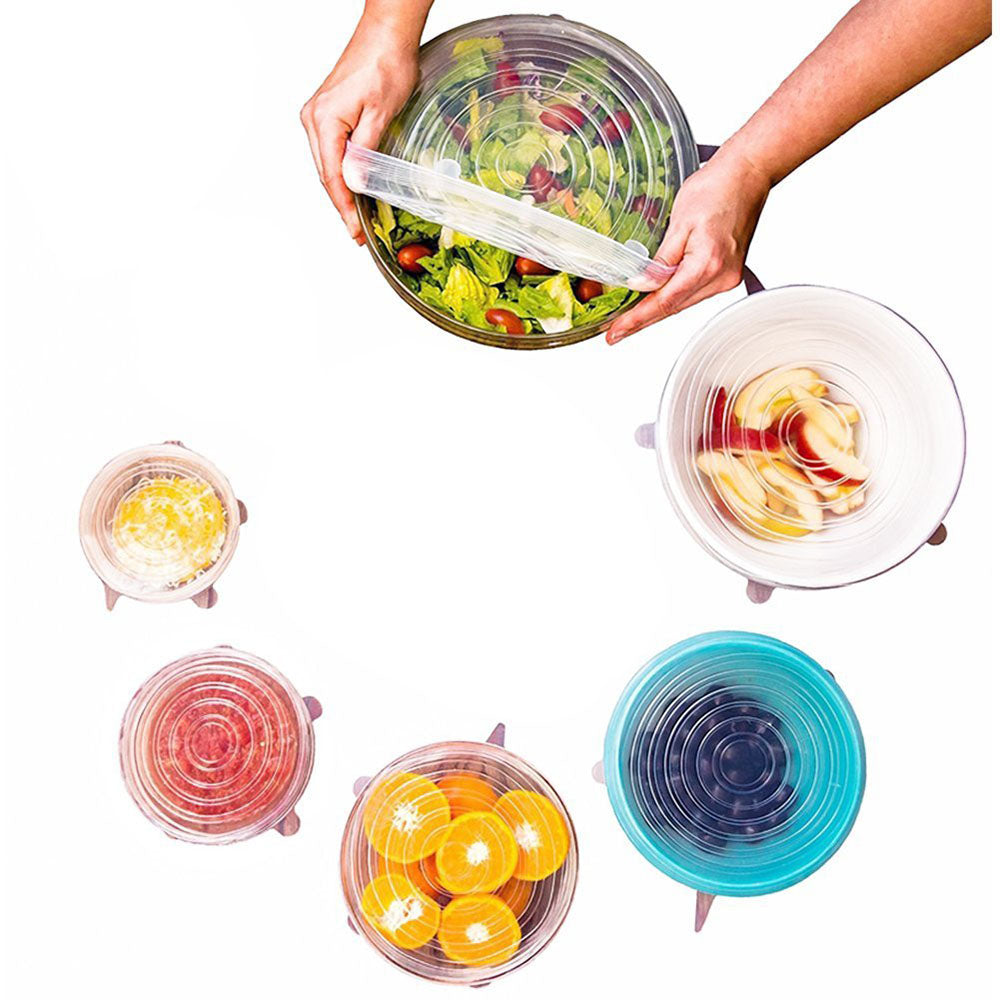Silicone Stretch Lids, Set of 6 for Different Shape Containers, Fruits, and Vegetables - beleafgreen