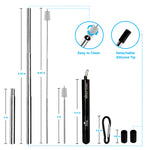 "Unique Collapsible Telescopic Stainless Steel Metal Straw with Carrying Case, Black, ""King"" - beleafgreen"