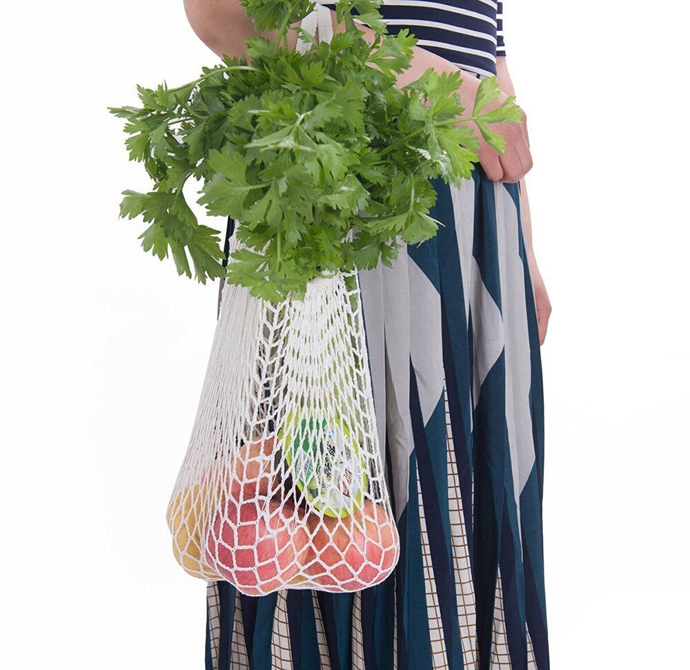 Mesh Cotton Shopping String Bag Long Handle - beleafgreen