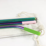Rainbow Reusable Stainless Steel Metal Straw Set with Smoothie straw + Linen Pouch, rainbow - beleafgreen