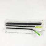 Reusable Stainless Steel Metal Straw Set with Smoothie straw + Linen Pouch, Black- beleafgreen