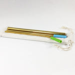 Reusable Stainless Steel Metal Straw Set with Smoothie straw + Linen Pouch, Gold - beleafgreen