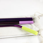 Reusable Stainless Steel Metal Straw Set with Smoothie straw + Linen Pouch, Purple - beleafgreen