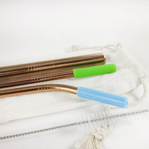 Reusable Stainless Steel Metal Straw Set with Smoothie straw + Linen Pouch, Rose Gold - beleafgreen