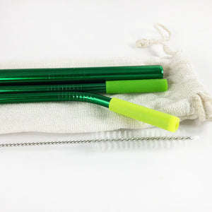 Reusable Stainless Steel Metal Straw Set with Smoothie straw + Linen Pouch, Green - beleafgreen