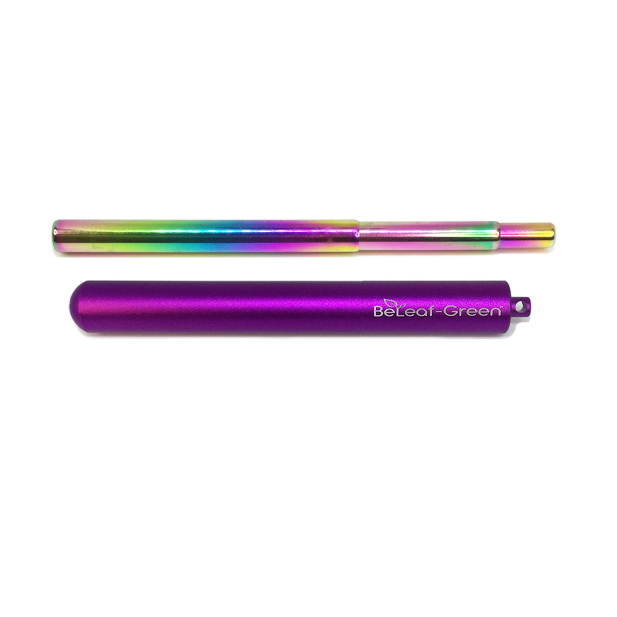 Best Reusable Telescopic Metal Straw Set with case, Purple, Customized, Personalized with you Name BeLeaf-Green