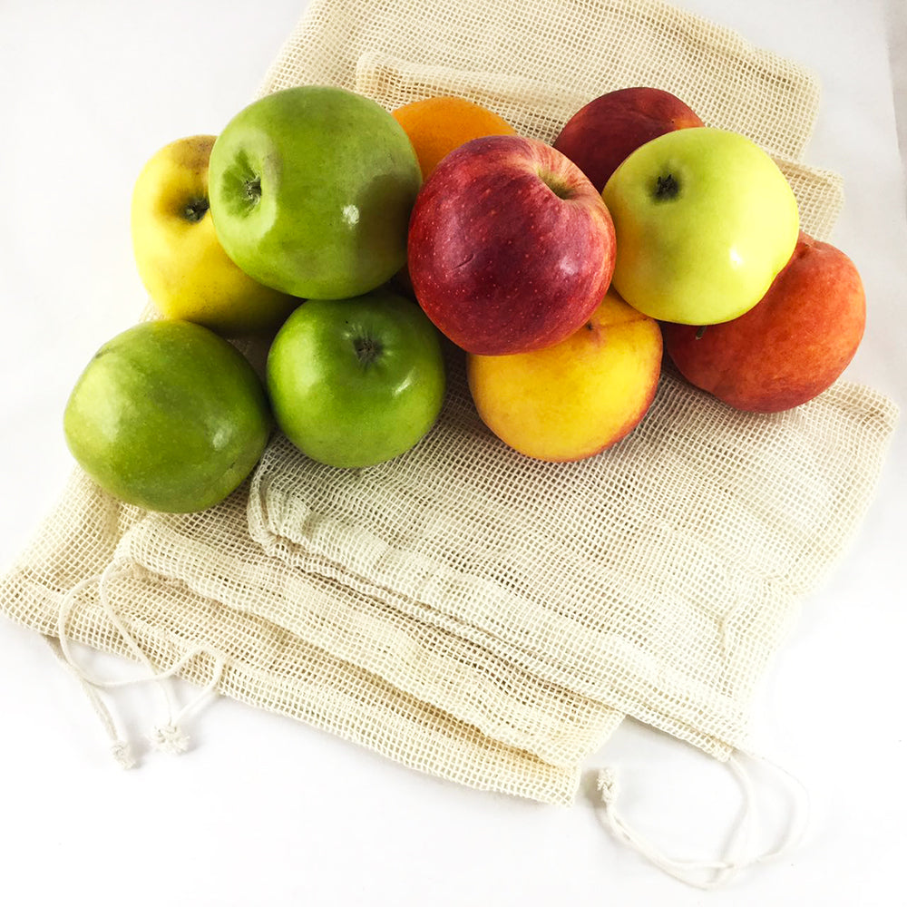 Vegetable Fruit Produce Reusable Shopping Storage Mesh Bag Cotton - beleafgreen