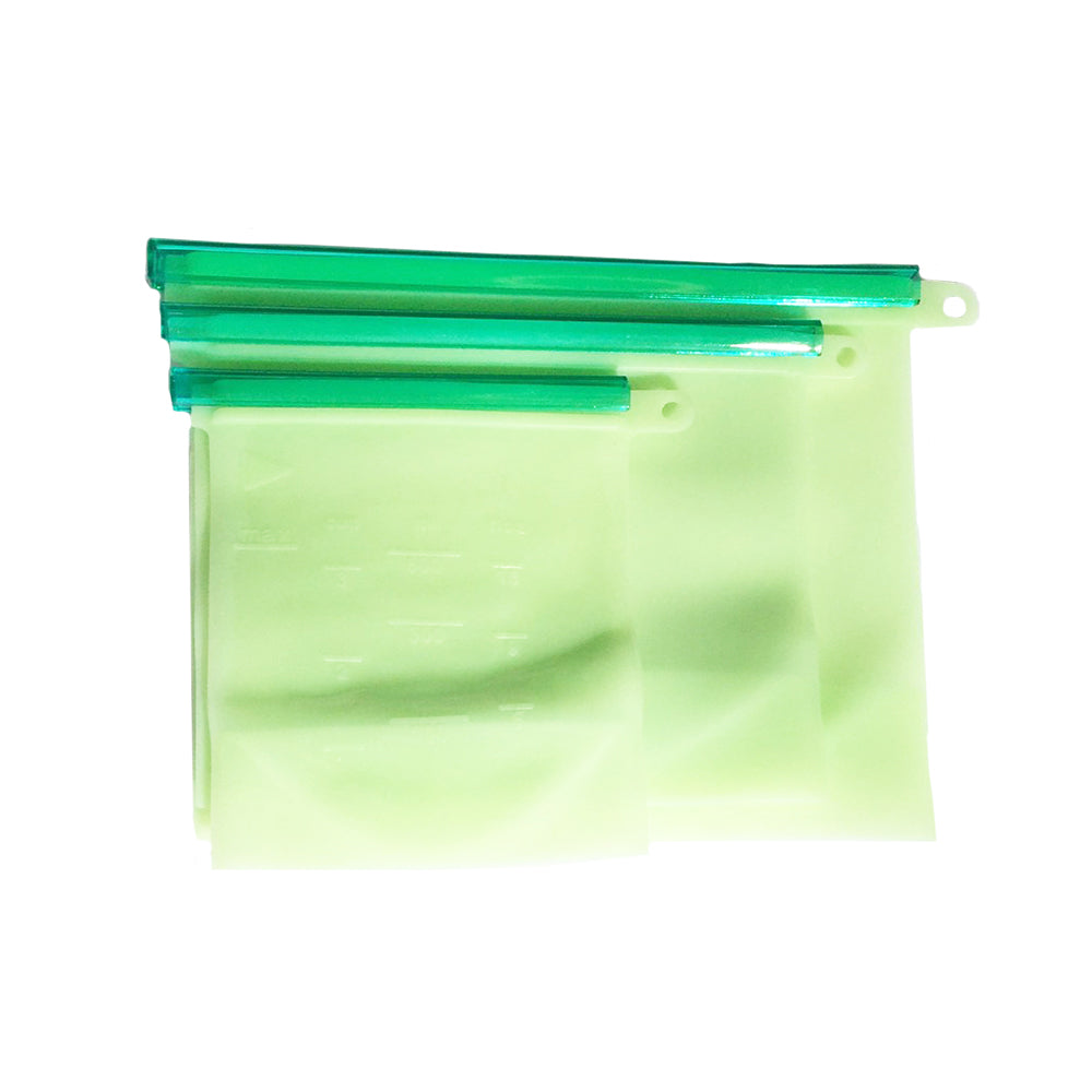 Reusable Silicone Food Storage Bags Set of 3 with Airtight Seal - beleafgreen