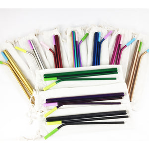 Colorful Reusable Stainless Steel Metal Straw Set