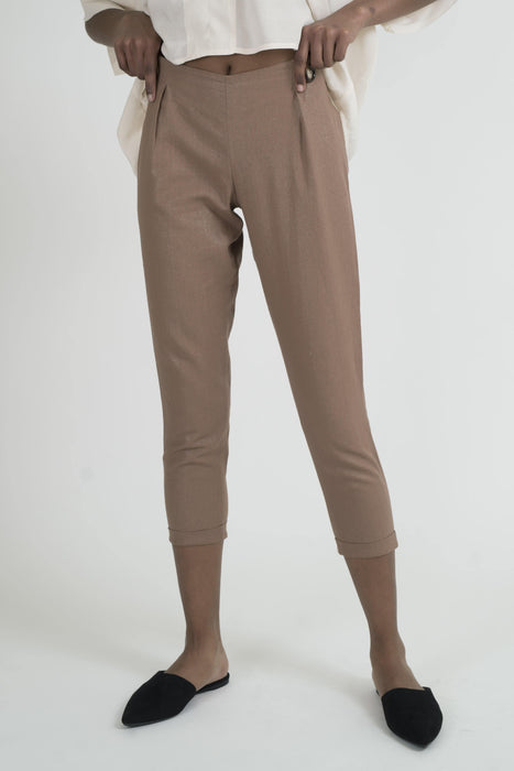 <transcy>Pegged Linen Trousers</transcy>