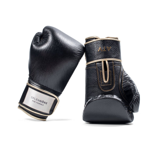 BKD BLACK LEATHER BOXING GLOVES 12 OZ