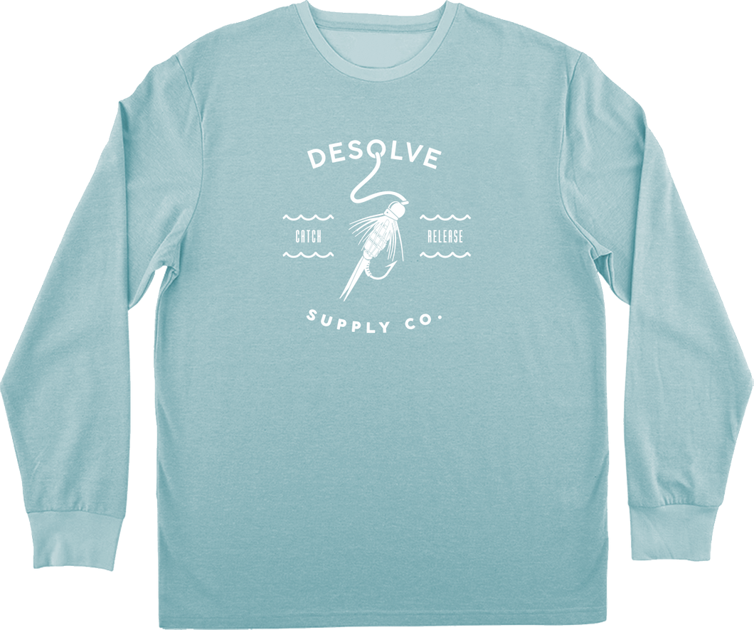 Desolve Hook and Line LS Tee Marina Blue