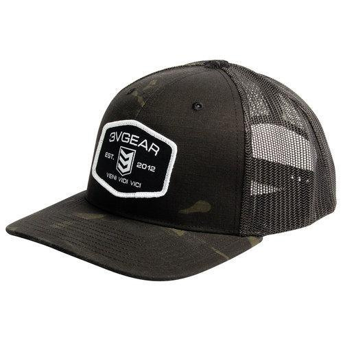3VGEAR Woven Patch Mesh Trucker Hat Black/Camo/Grey/Red - Hunter Valley Tactical