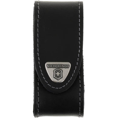 VICTORINOX BLACK LEATHER POUCH 91/93 MM 2-4 LAYERS