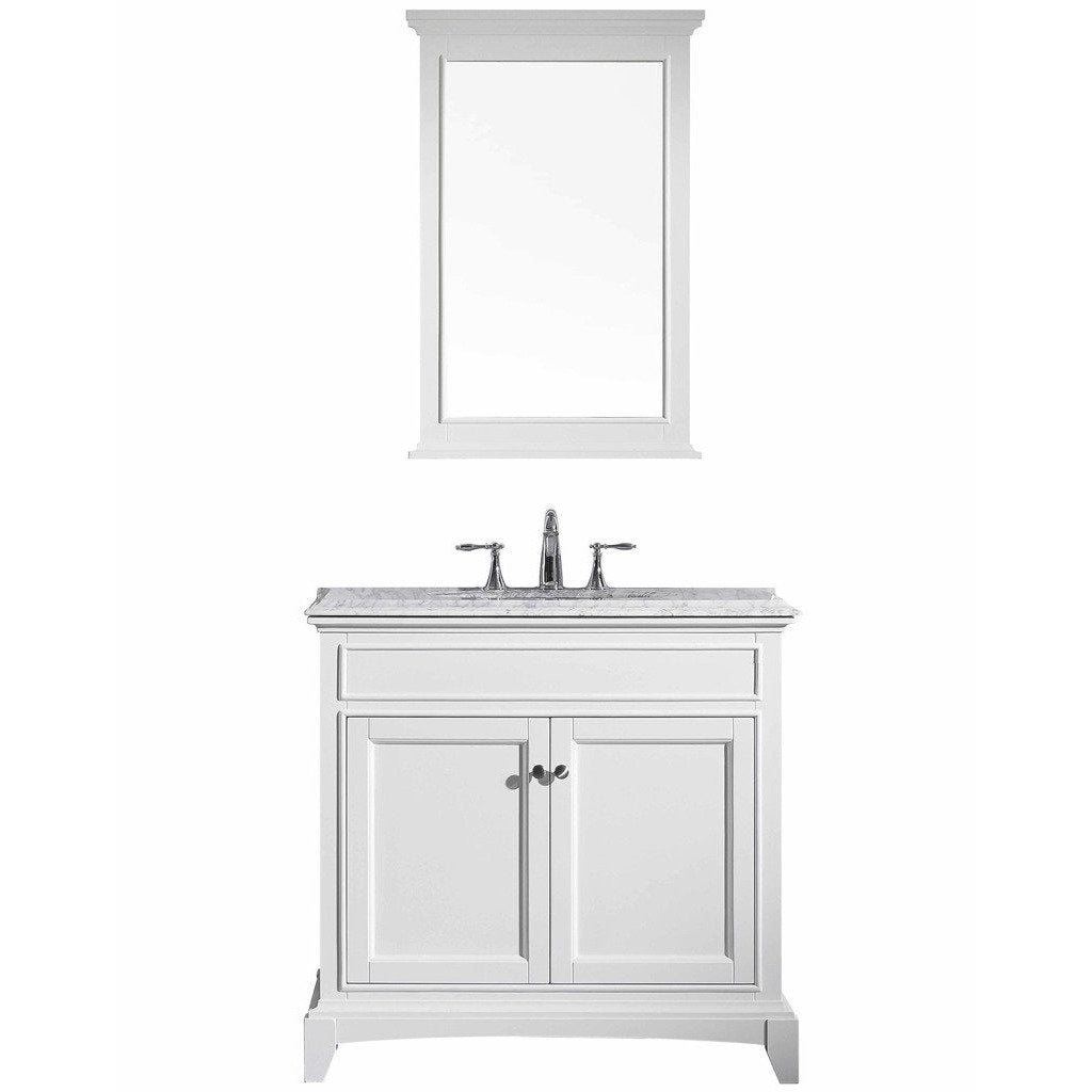 Eviva Elite Stamford 36 White Solid Wood Bathroom Vanity Set With Double Og White Carrera Marble Top White Undermount Porcelain Sink The Vanity Authority
