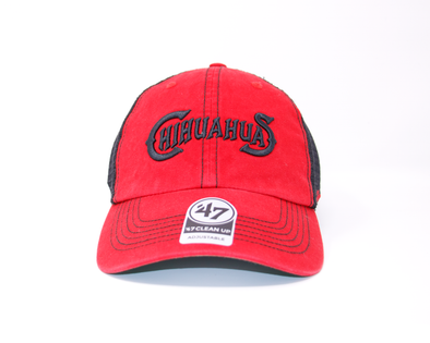 '47 Brand Adjustable El Paso Chihuahuas Black and Red Wordmark Trawler Cap