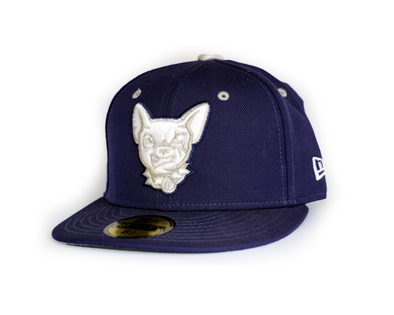 New Era 5950 El Paso Chihuahuas Padres Blue with White/Silver Head Logo Cap