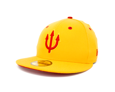 New Era 5950 El Paso Diablos Gold with Red Pitchfork Cap