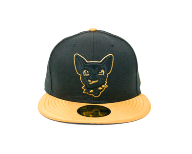New Era 5950 El Paso Chihuahuas Two Tone Black & Met Gold Dog Head Cap