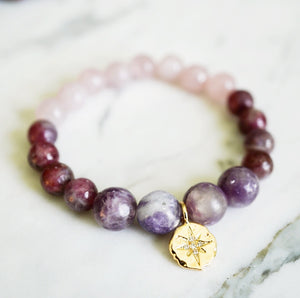 Lepidolite, Pink Tourmaline Rubellite, Rose Quartz, Intention Jewelry, Healing Crystal Jewelry, Intention Bracelets, Mala Beads, Mala Bracelet, Made in BC. Best Mala Bead Bracelets in Canada, Gemstones, healing crystals