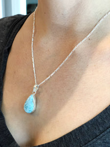 Montserrat Pendant Necklace with Natural Larimar