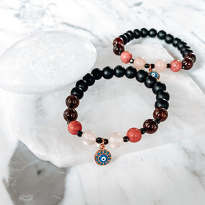Evil Eye + Rose Quartz + Rhodonite + Garnet + Spinel Bracelet_Empress Mala Designs_The Sweat Edit_Designer Intention Jewelry_handmade in Vancouver, BC