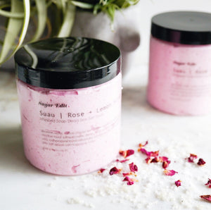 Sugar Edit_Suau Whipped Soap Salt Scrub _Rose+Lemon_empress mala designs_made in Vancouver, BC_KP Treatment_keratosis_pilaris_strawberry skin_ingrown hair treatment_pre-shave exfoliator_pre-wax exfoliator_soft-skin_dry-skin exfoliation_luxurious post hair removal  skin treatment