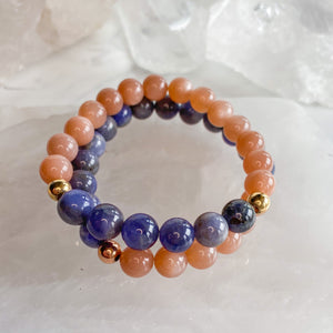 Sunstone + Tanzanite + 14k Gold Filled Bracelet