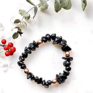 Freya Nuummite Bracelet with 14k Rose Gold